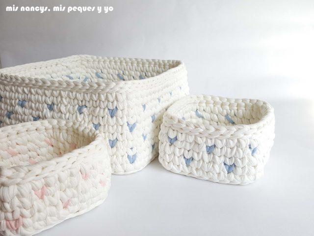 mis nancys, mis peques y yo, cestas de trapillo cuadradas con lunares, juego de tres cestas