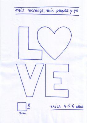 mis nancys, mis peques y yo, tutorial aplique en camiseta love, patron talla 4-5-6