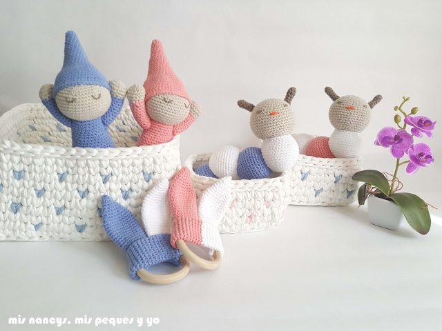 mis nancys, mis peques y yo, mordedores conejito de crochet, conjunto regalos handmade para bebe