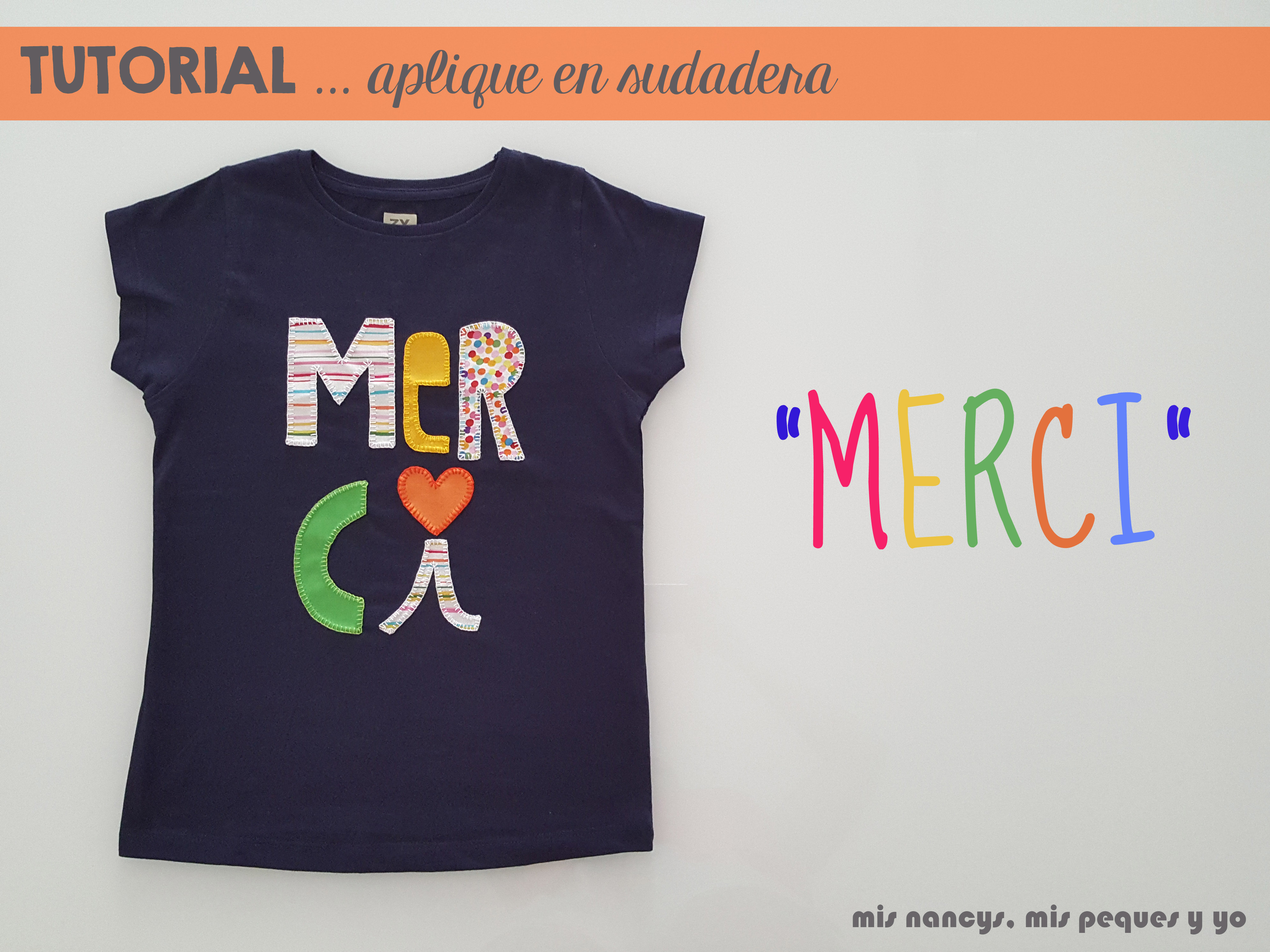 "Tutorial aplique en camiseta… ""MERCI"""